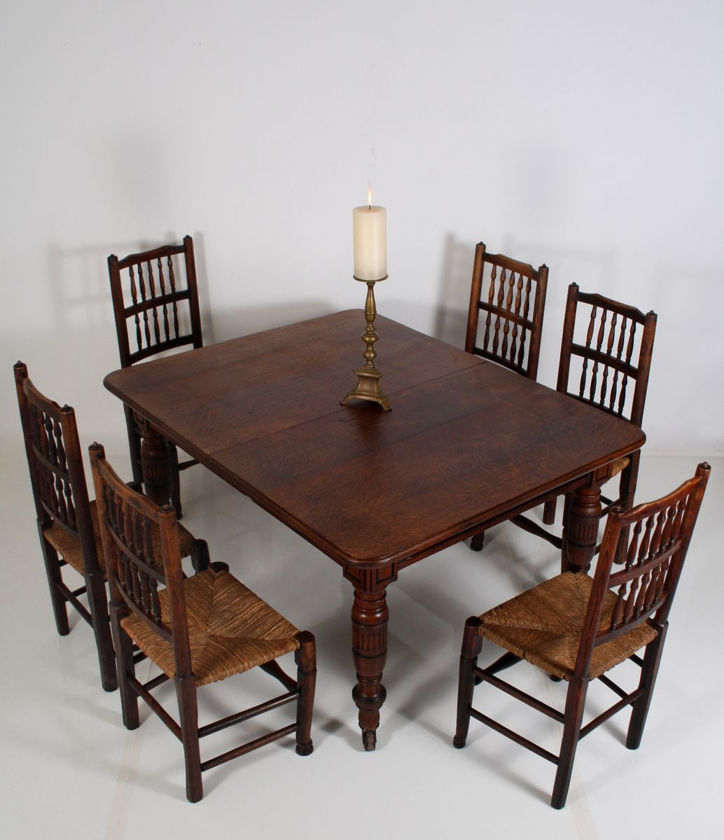 antique extendable victorian english oak dining table