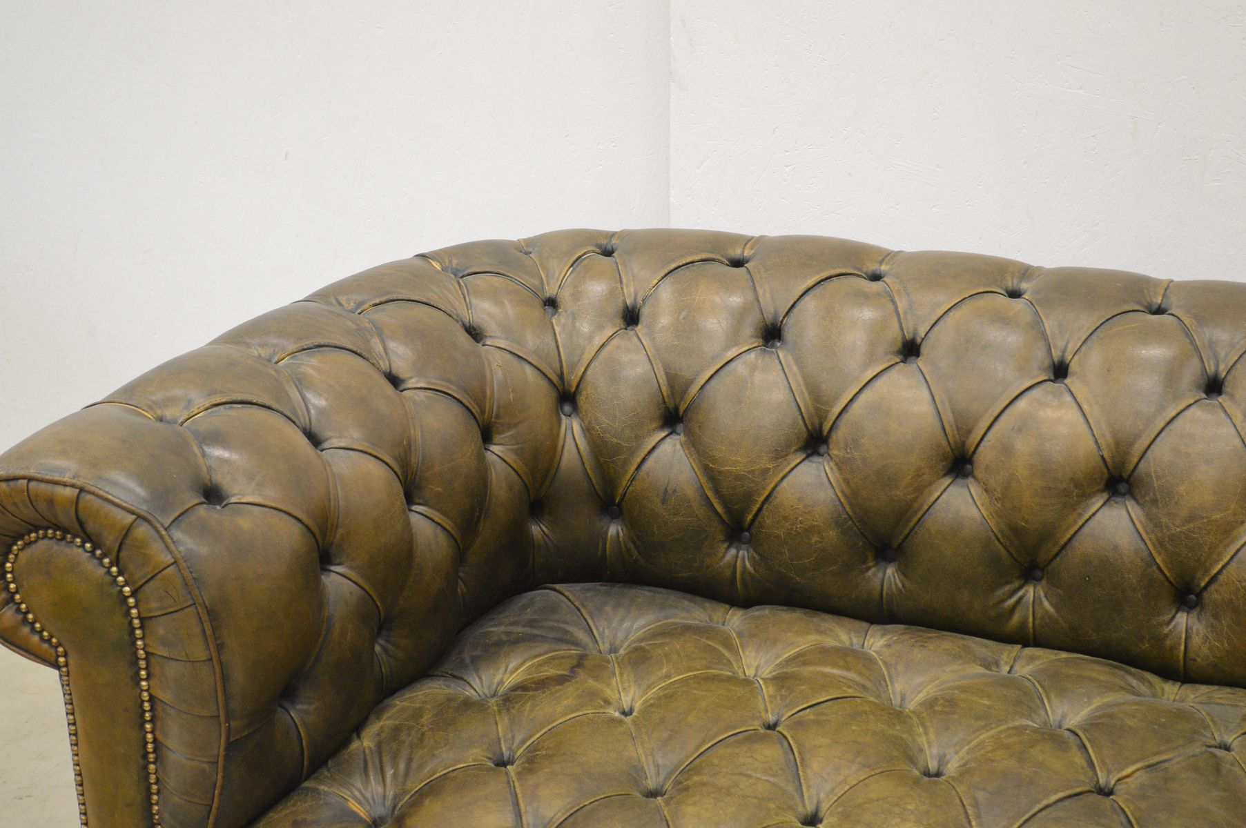 English Olive Green Leather Chesterfield Two Seater Sofa 1960s