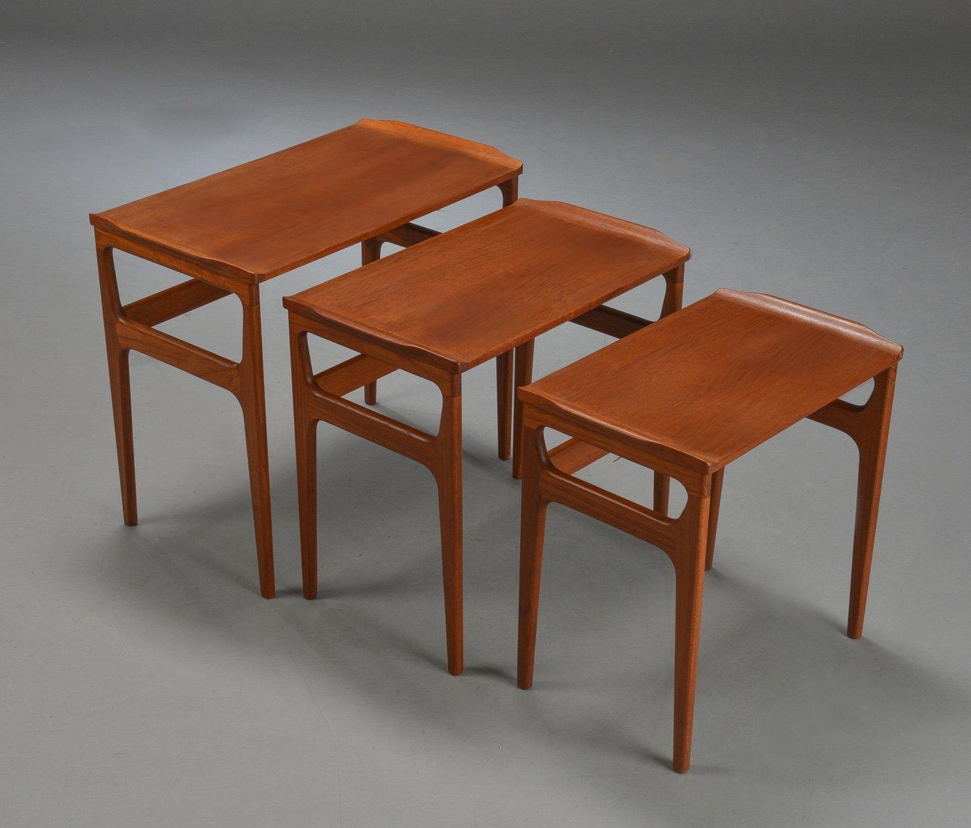 Danish Mid Century Teak Nesting Tables From Heltborg Møbler For Domus  Danica, 1960s