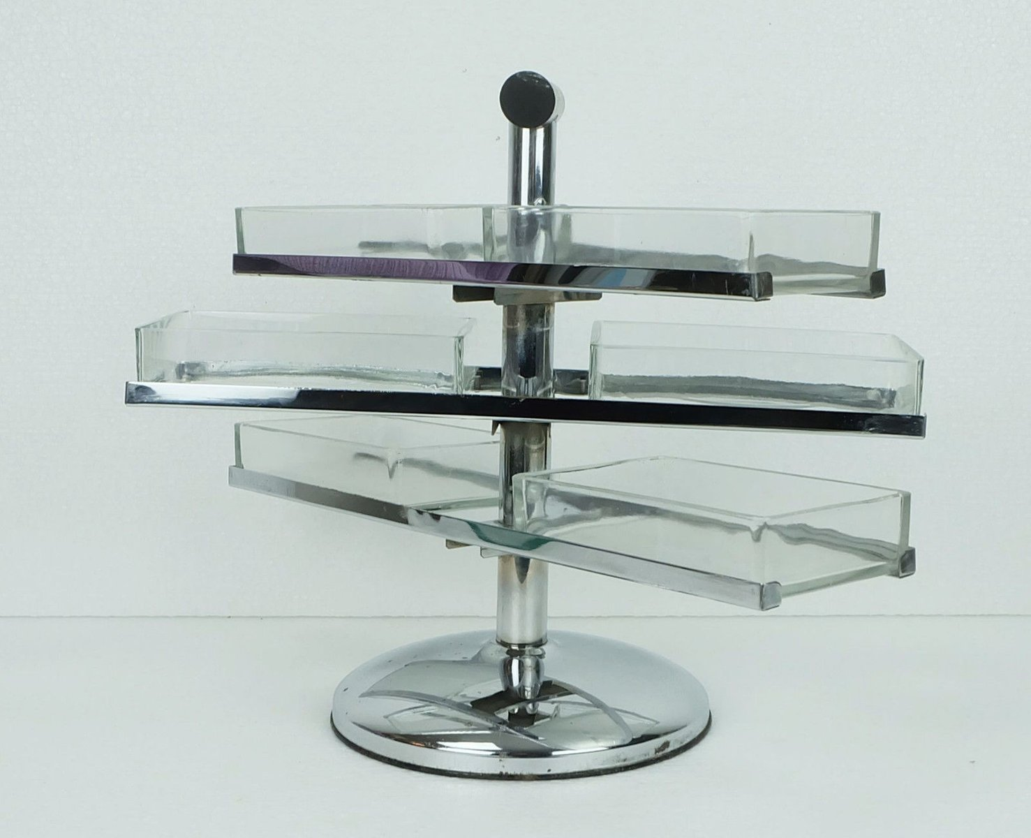 vintage three tiered art deco chrome glass etag re for sale at pamono. Black Bedroom Furniture Sets. Home Design Ideas
