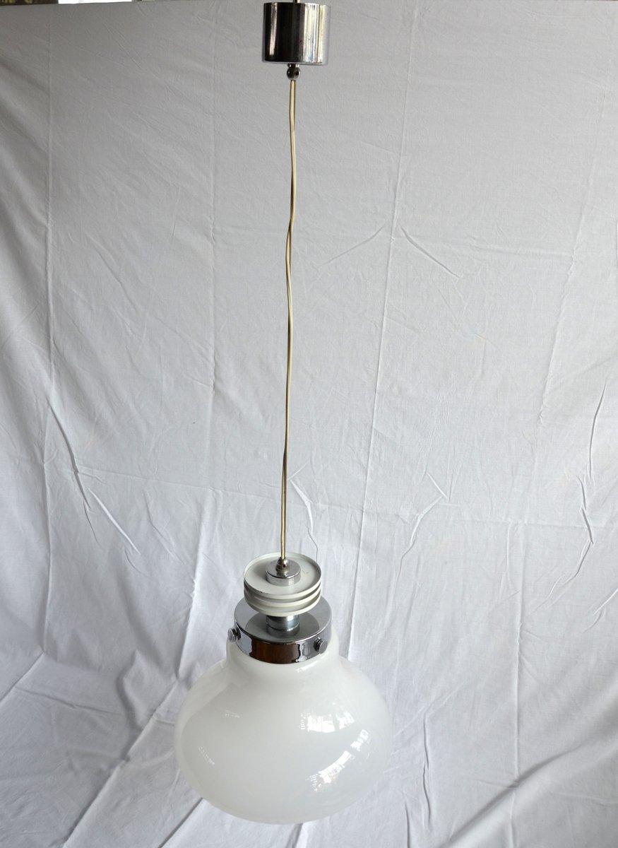 italienische vintage stahl glas lampe bei pamono kaufen. Black Bedroom Furniture Sets. Home Design Ideas