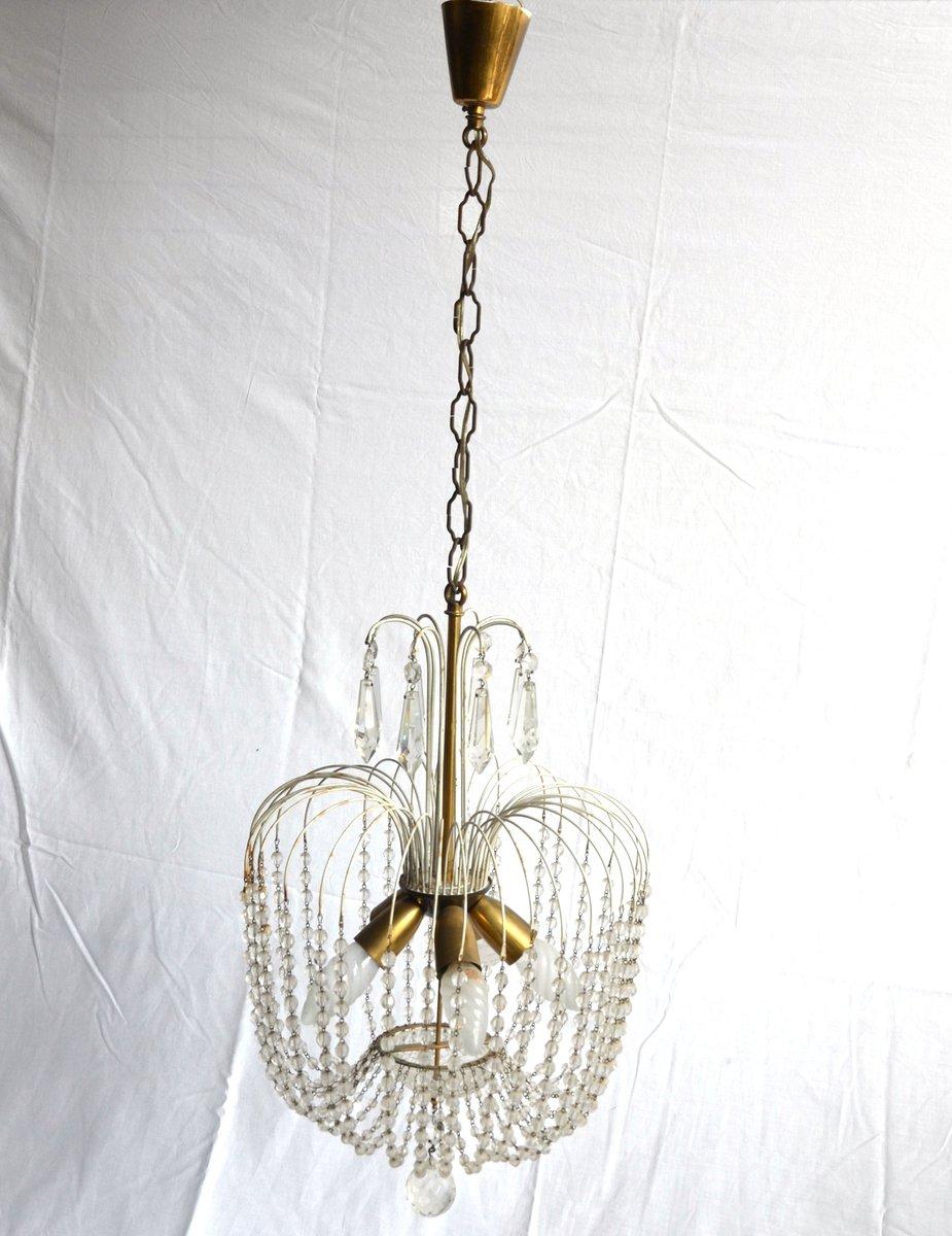Lampadario vintage con perle in vetro italia in vendita for Lampadario vintage