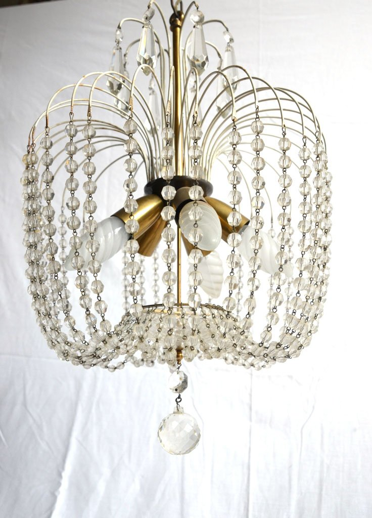 Vintage italian chandelier with glass beads for sale at pamono - Chandelier glass beads ...