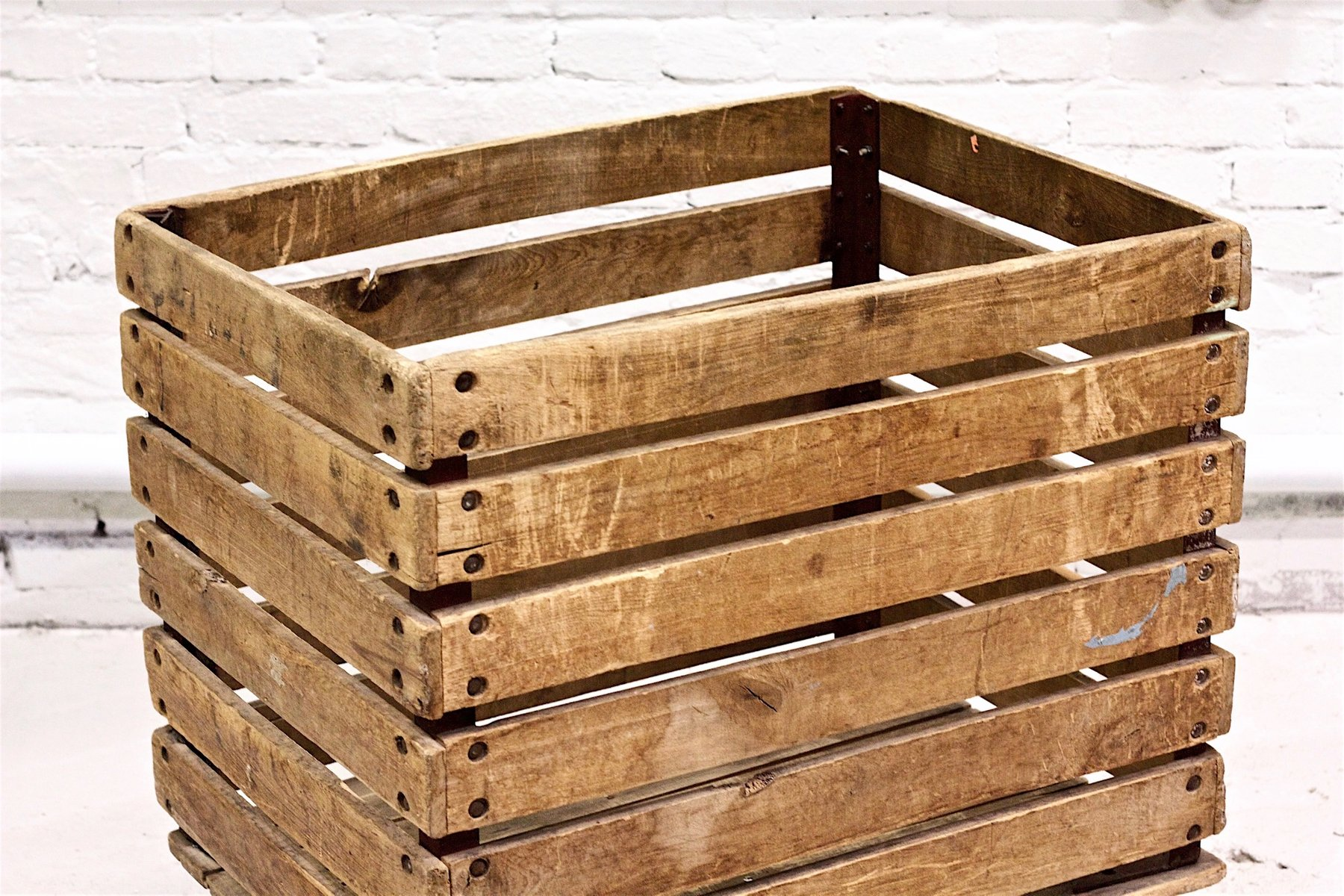 Mid Century Industrial Wooden Crate With Wheels For Sale