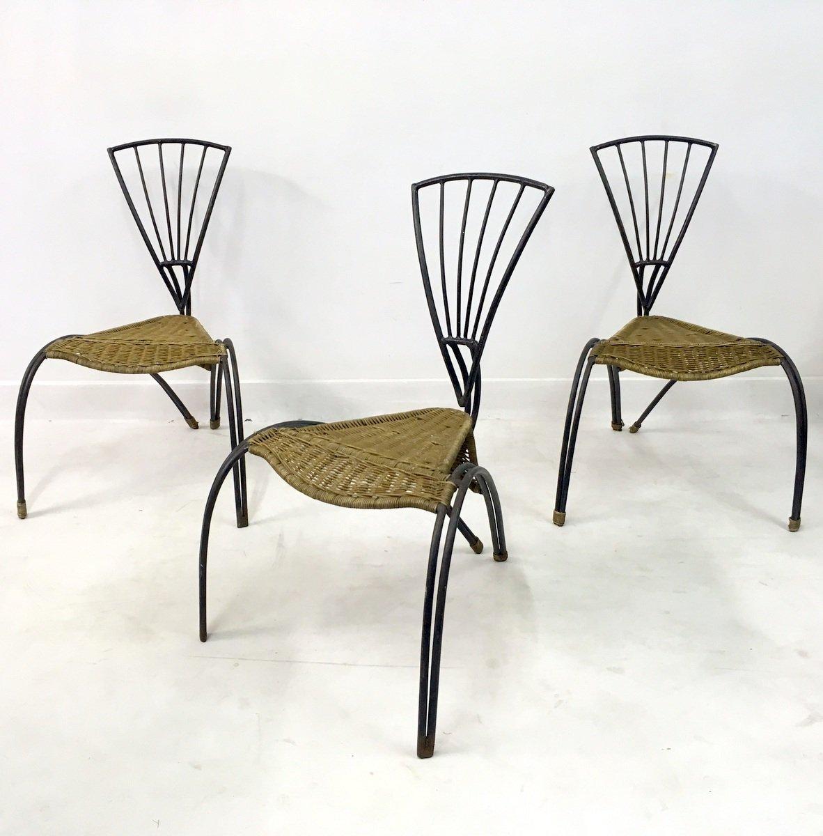 Sedie in ferro battuto e vimini francia set di 3 in for Sedie in ferro design