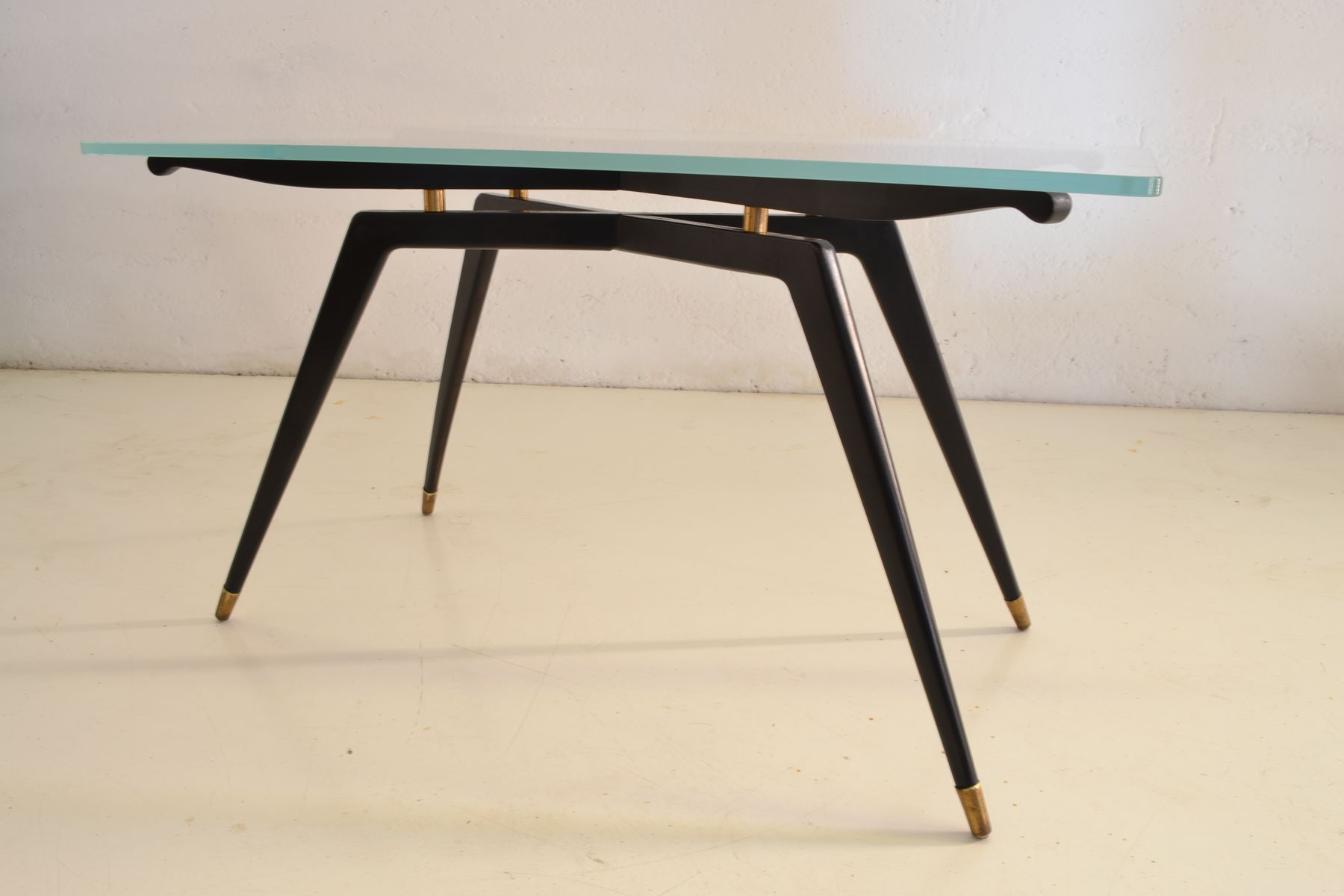Italian Glass Black Wood Coffee Table For Sale At Pamono