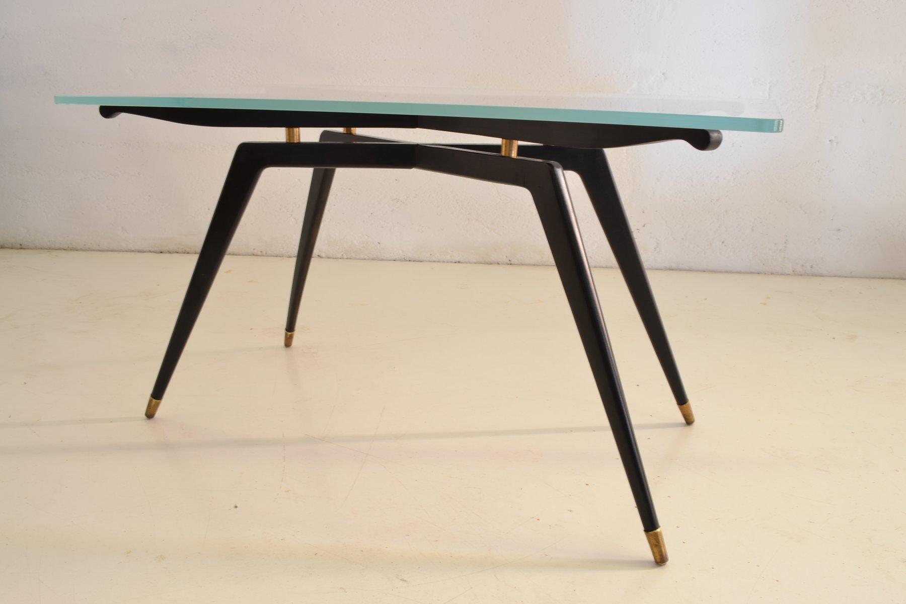 italienischer couchtisch aus glas schwarzem holz bei pamono kaufen. Black Bedroom Furniture Sets. Home Design Ideas