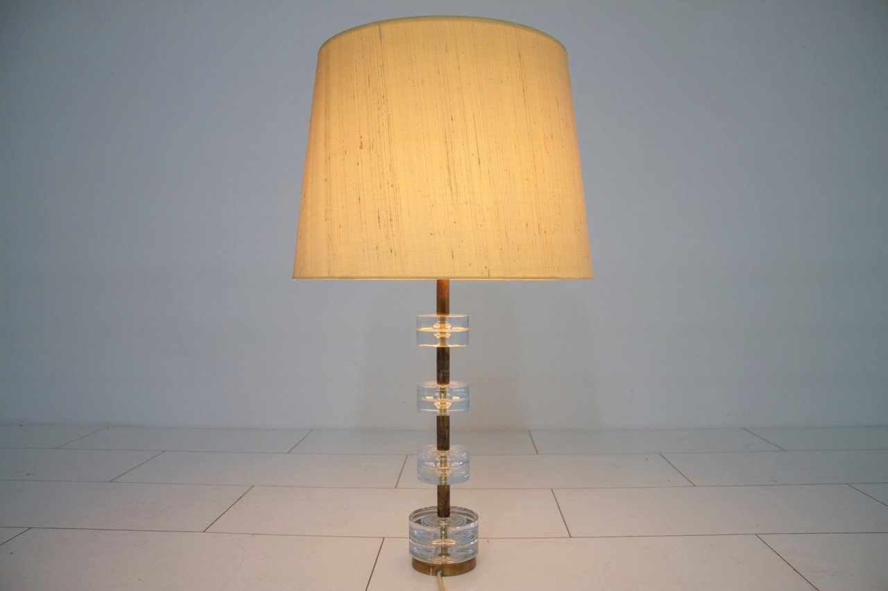 Vintage glass table lamps - Vintage Brass Glass Table Lamp By Luxus