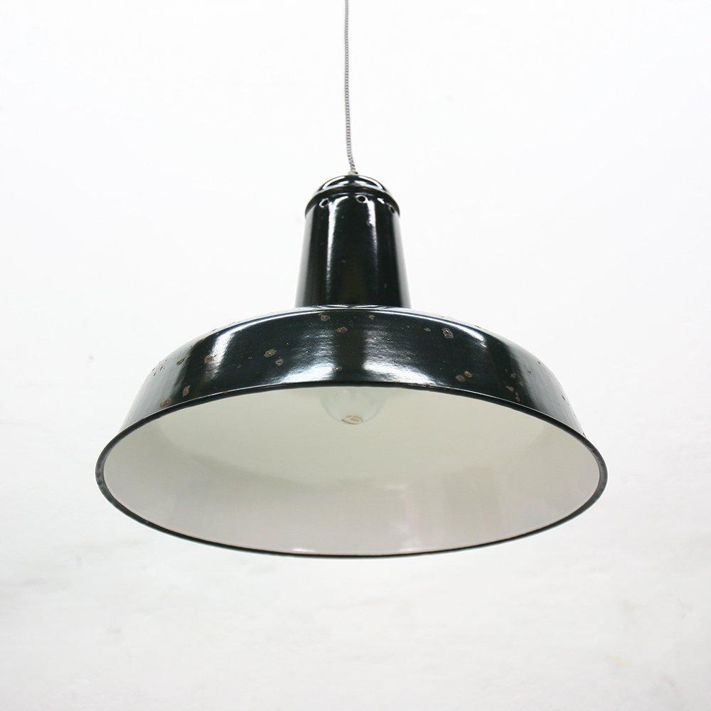 large vintage industrial black enameled pendant light for