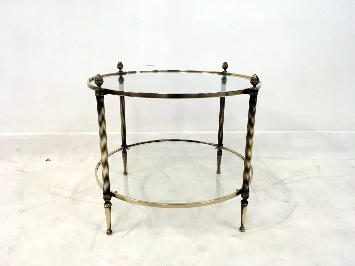 franz sischer runder messing tisch mit ablage bei pamono kaufen. Black Bedroom Furniture Sets. Home Design Ideas