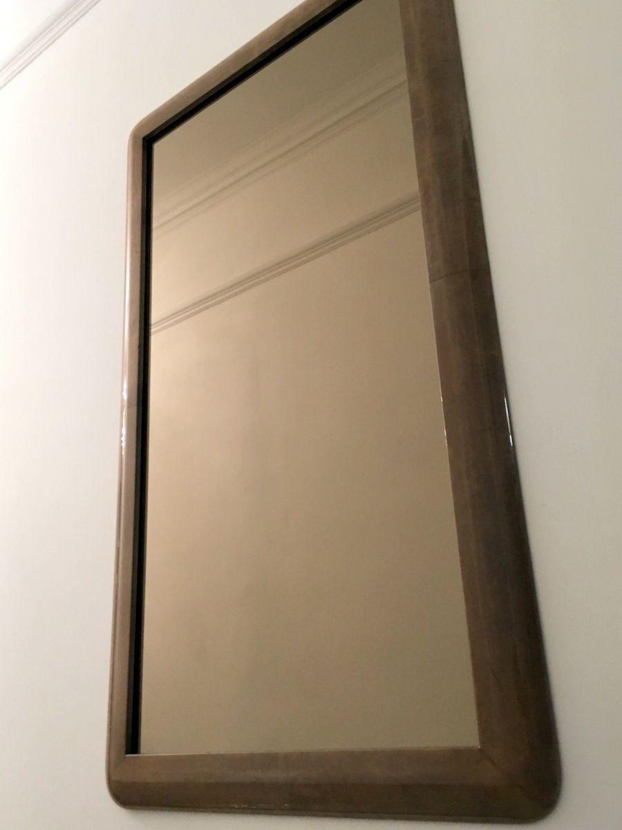 italienischer vintage spiegel mit rahmen aus ziegenleder. Black Bedroom Furniture Sets. Home Design Ideas