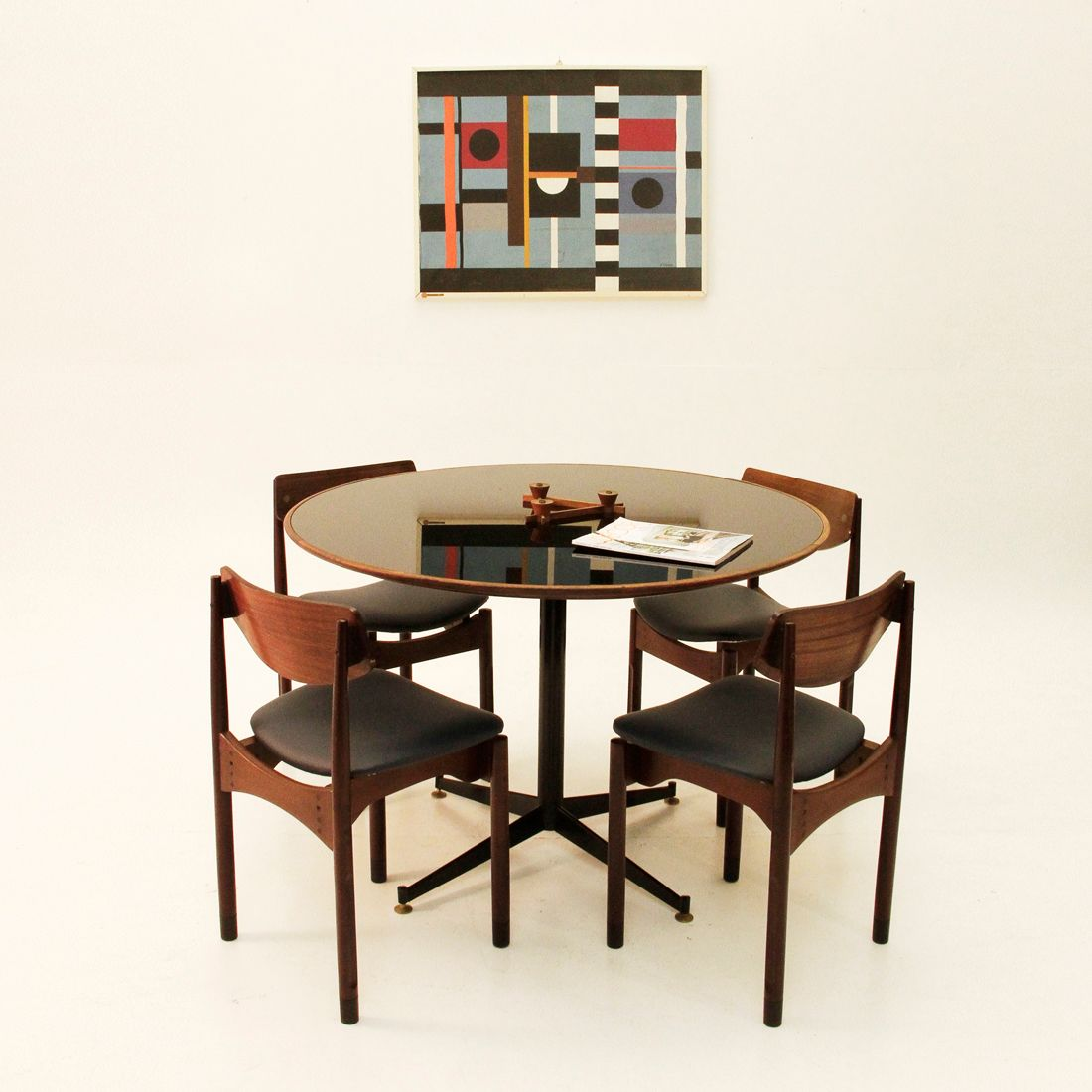 mid century italian black glass dining table for sale at pam