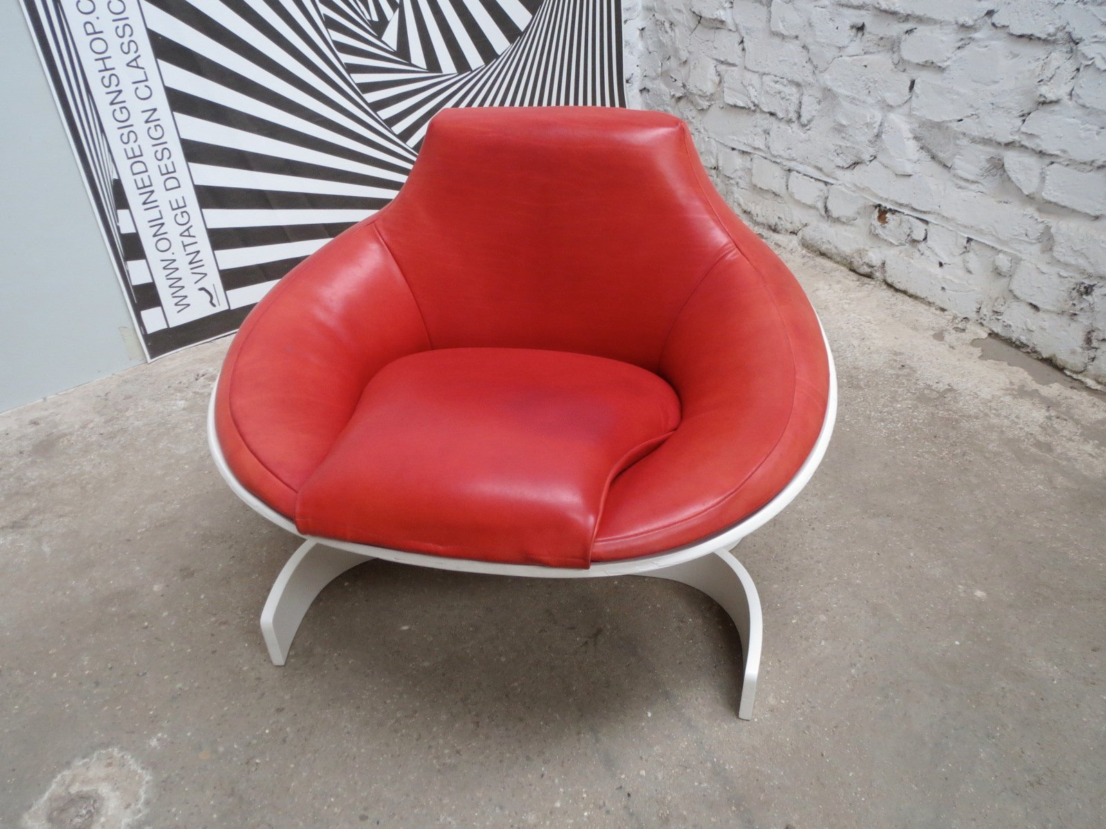 Red Leather Sella 1001 Chair by Joe Colombo for fort Italy
