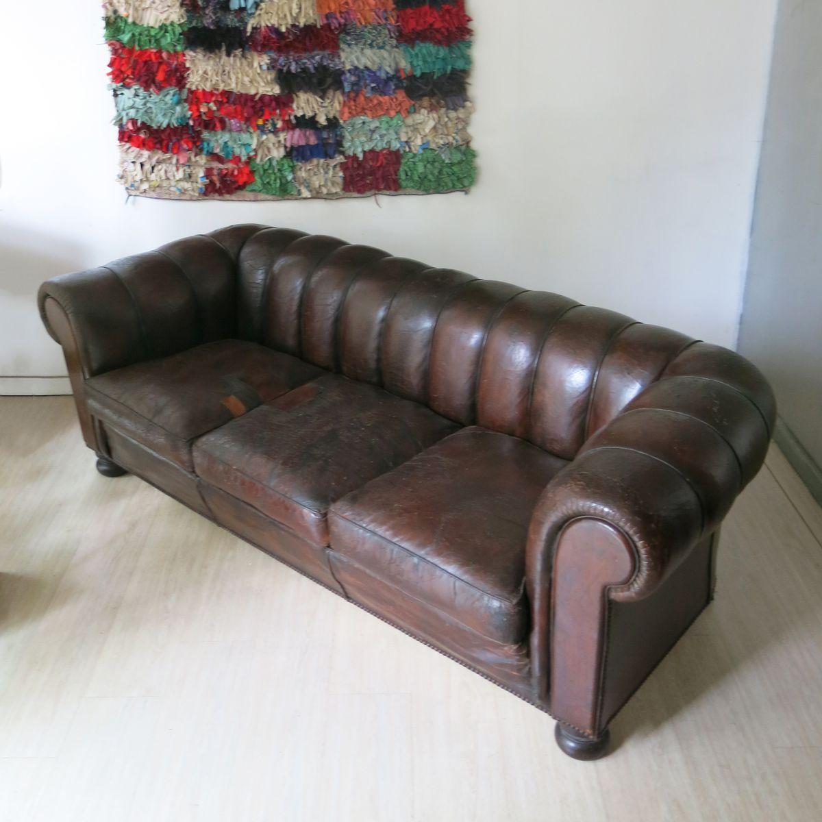 franz sisches chesterfield ledersofa 1930er bei pamono kaufen. Black Bedroom Furniture Sets. Home Design Ideas