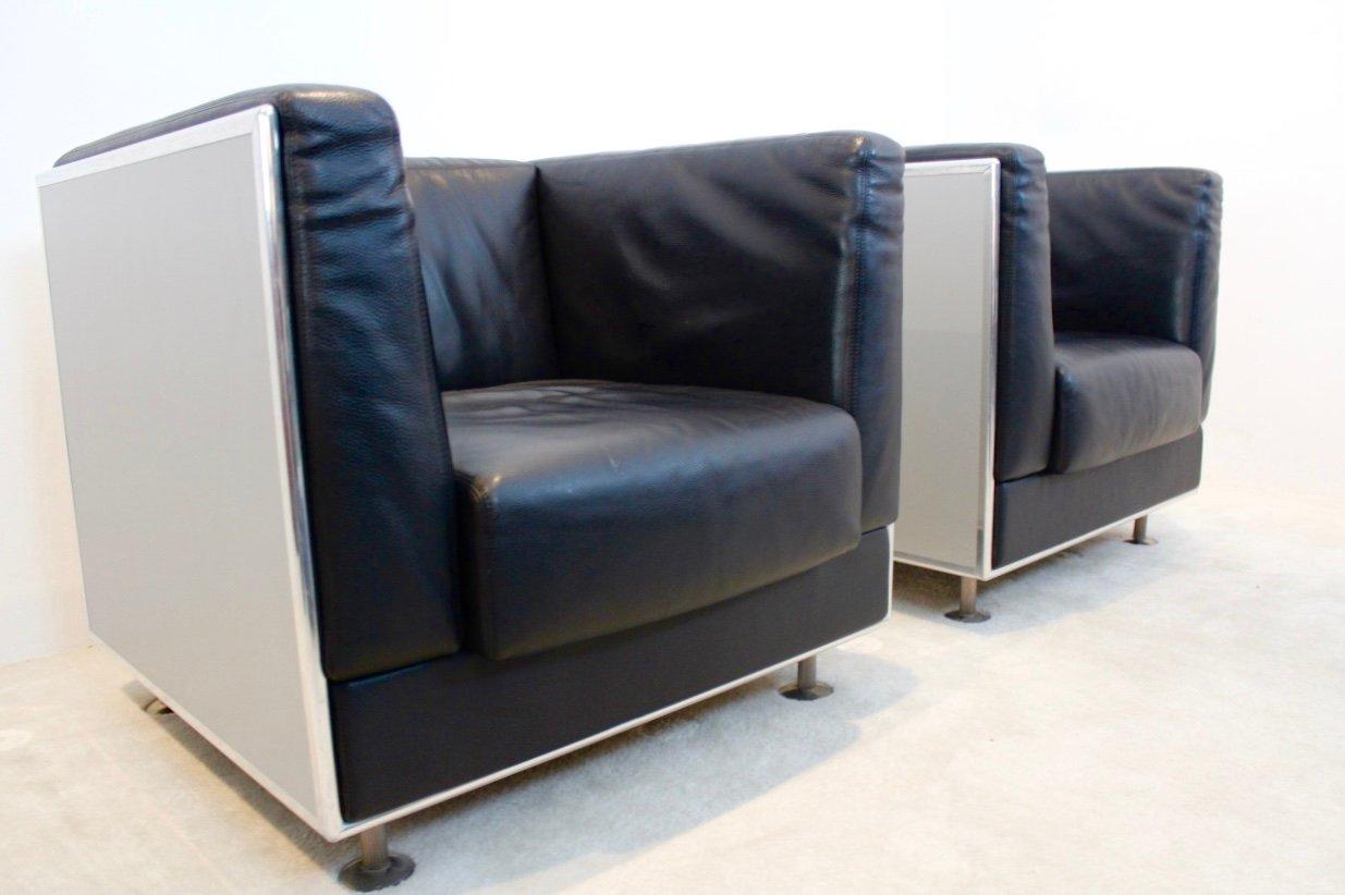 vintage leder aluminium sessel von kunihide oshinomi f r. Black Bedroom Furniture Sets. Home Design Ideas