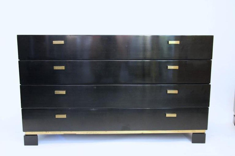French Black & Gold Sideboard and Pair of Drawers, 1970s - French Black & Gold Sideboard And Pair Of Drawers, 1970s For Sale