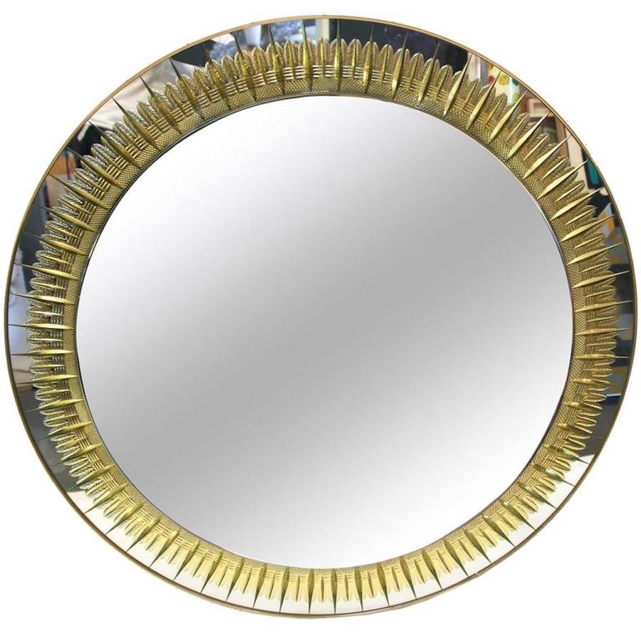italian round wall mirror from crystal arte 1970s - Round Wall Mirror