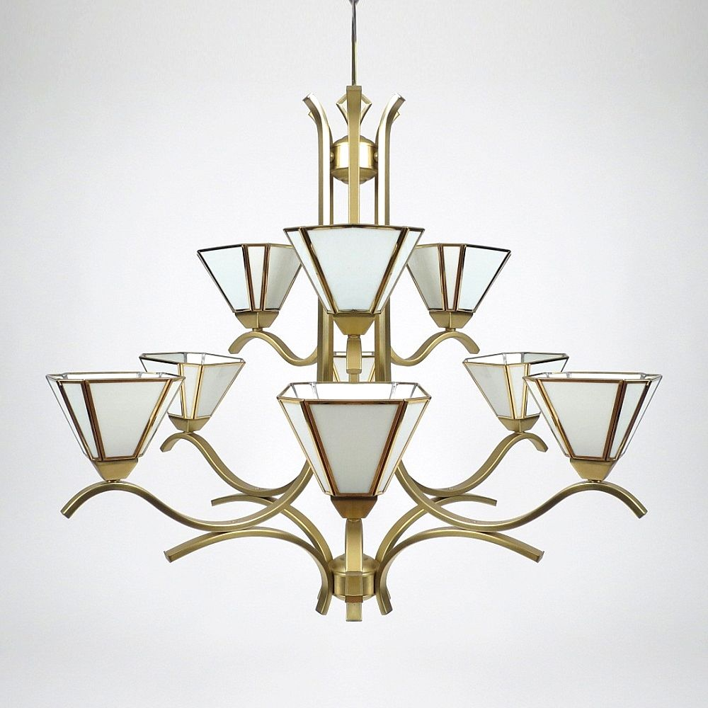 Vintage 9Arm Brass Glass Chandelier for sale at Pamono – Brass and Glass Chandelier