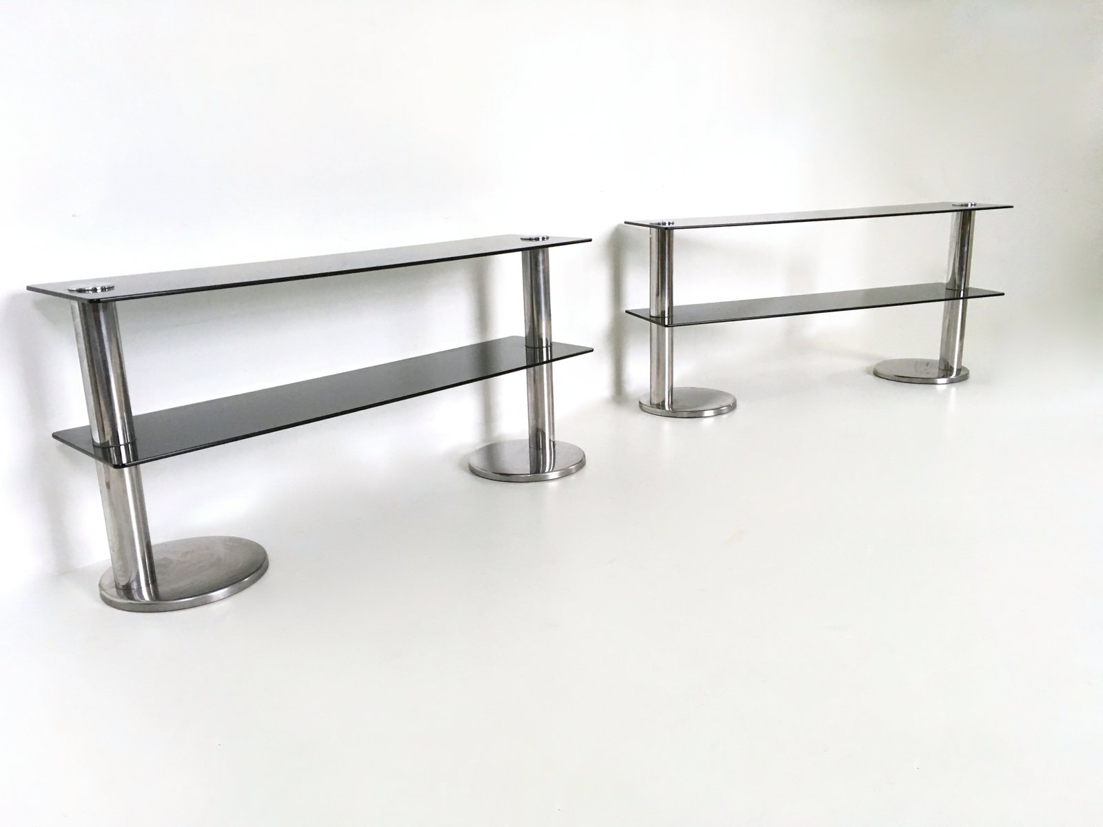 Metal and glass console tables 1970s set of 2 for sale for Metal and glass console tables