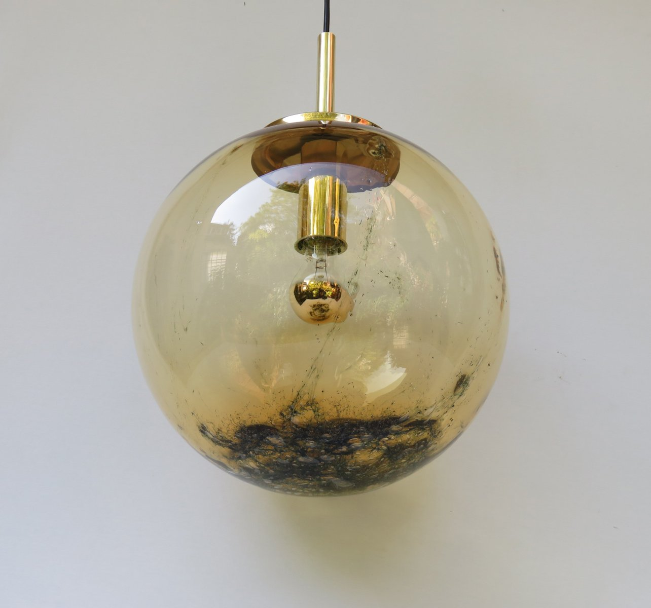 Vintage Italian Yellow Glass Ball Pendant Light For Sale