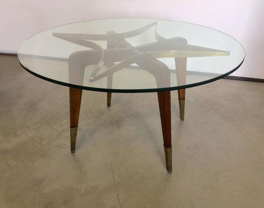 table basse vintage en verre laiton et bois 1950s en. Black Bedroom Furniture Sets. Home Design Ideas