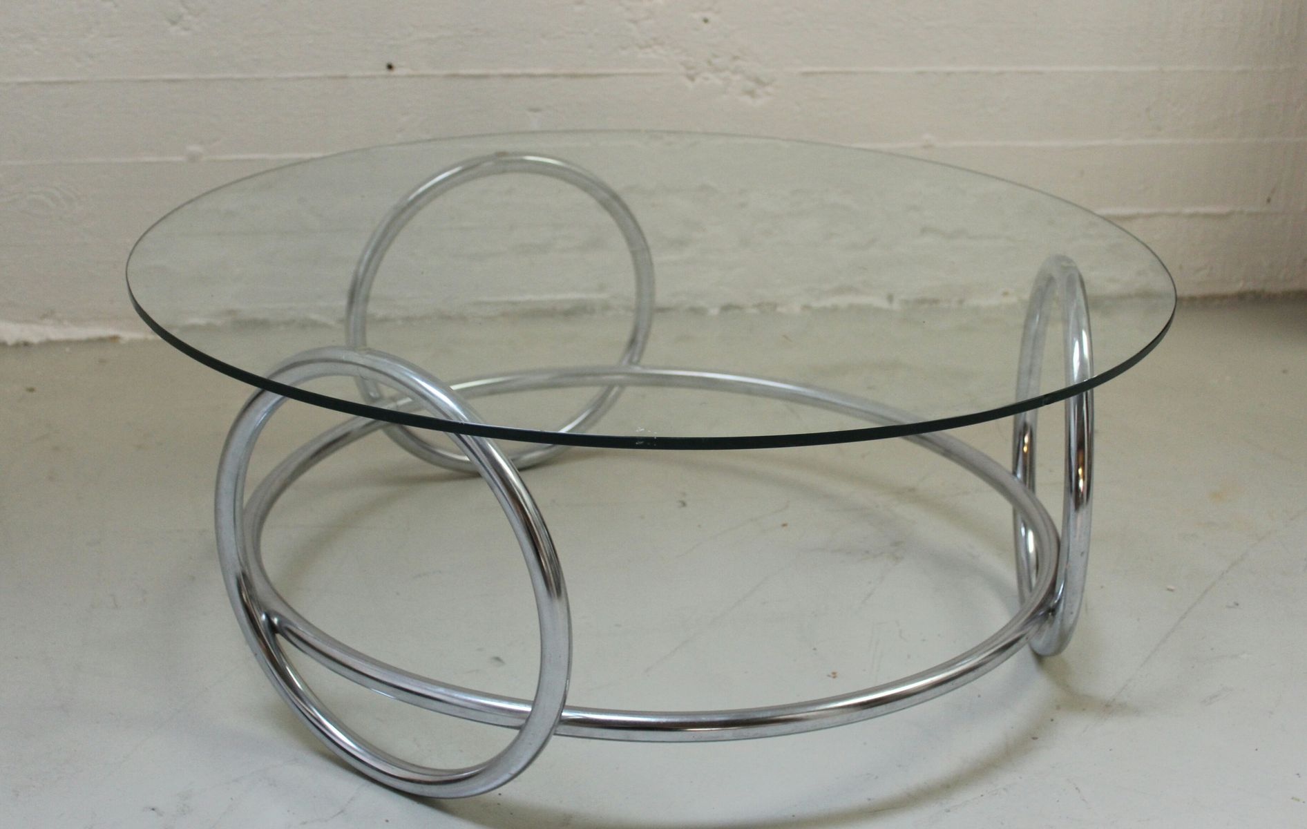 Chrome Ring and Glass Coffee Table 1970s for sale at Pamono