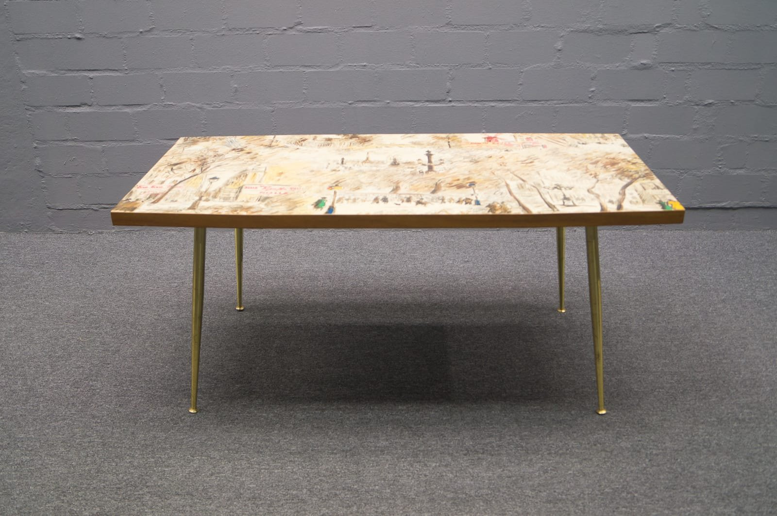 French coffee table with painted top 1950s for sale at pamono geotapseo Choice Image