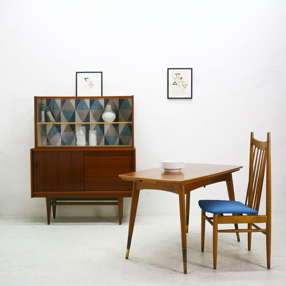 Extending Walnut Dining Table from K & G, 1950s for sale at Pamono