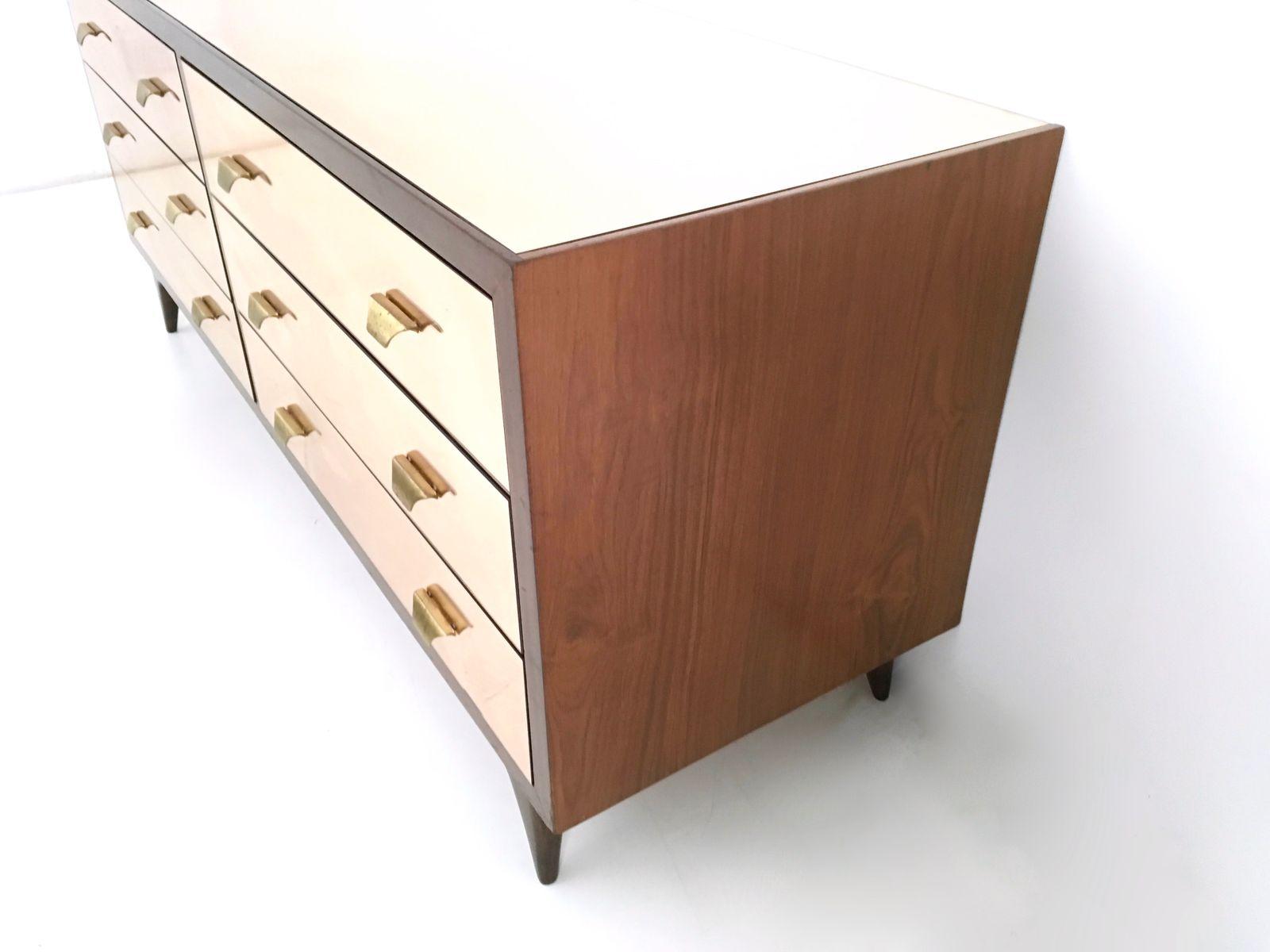 verspiegelte rosa kommode aus teakholz 1960er bei pamono. Black Bedroom Furniture Sets. Home Design Ideas