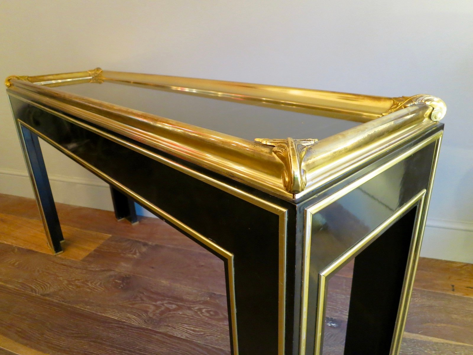 Vintage French Black Lacquered U0026 Gilt Brass Console Table For Sale At Pamono