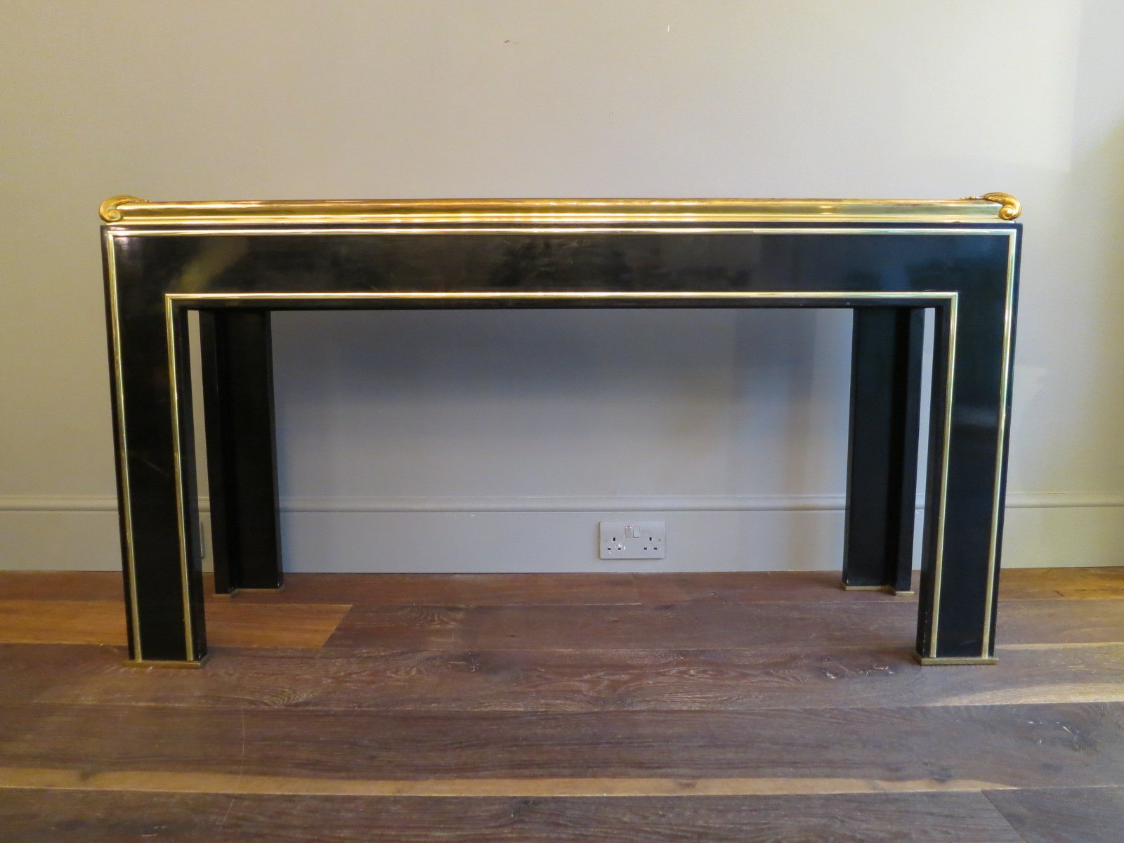 vintage french black lacquered gilt brass console table. Black Bedroom Furniture Sets. Home Design Ideas