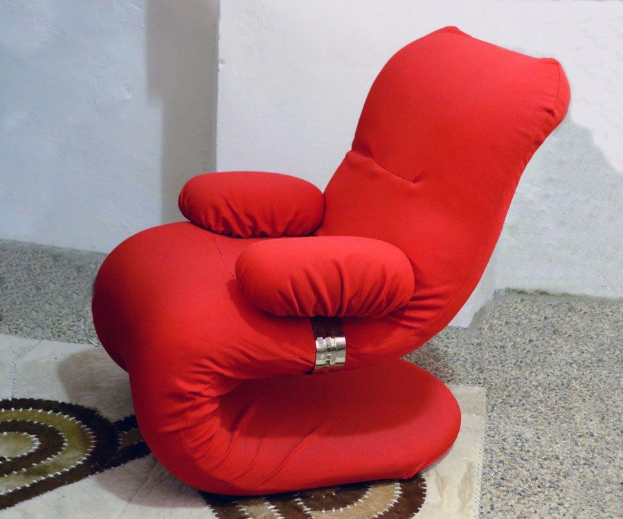 Italienischer roter sessel mit chrom details 1970er bei for Roter sessel