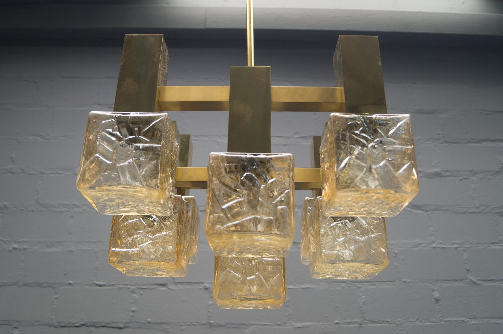 kronleuchter aus messing glas 1960er bei pamono kaufen. Black Bedroom Furniture Sets. Home Design Ideas