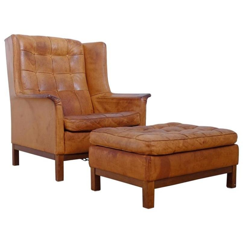 leather easy chair with ottoman buffalo leather easy chair with ottoman from arne norell 16623 | buffalo leather easy chair with ottoman from arne norell 1960s 1
