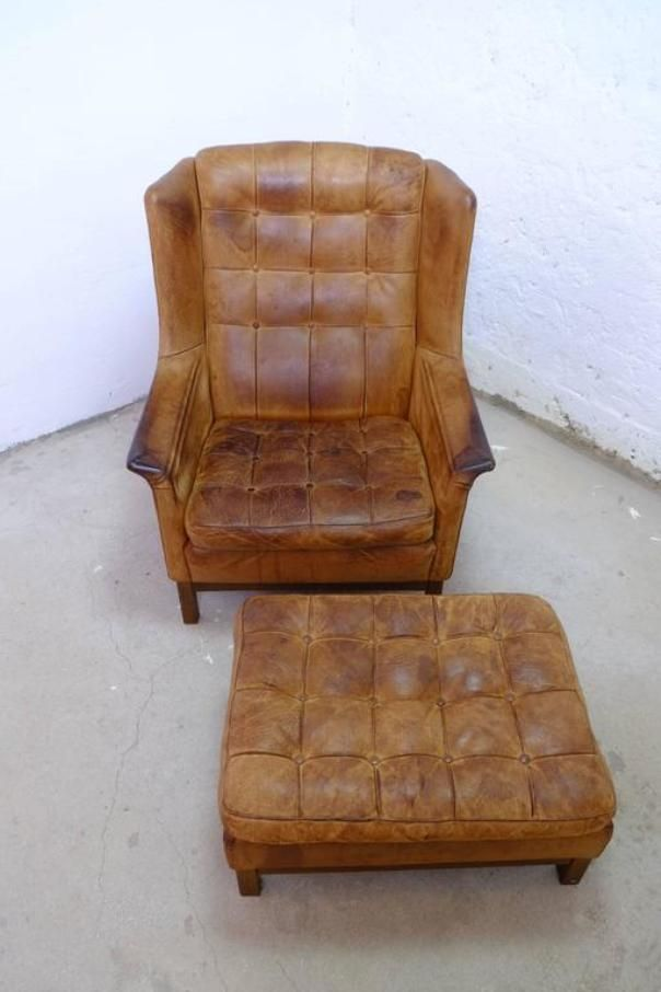leather easy chair with ottoman buffalo leather easy chair with ottoman from arne norell 16623 | buffalo leather easy chair with ottoman from arne norell 1960s 3