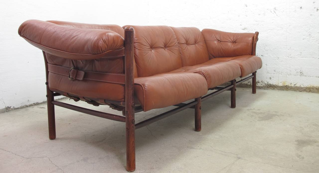 Vintage Swedish Ilona Leather Sofa by Arne Norell for Aneby Möbler ...