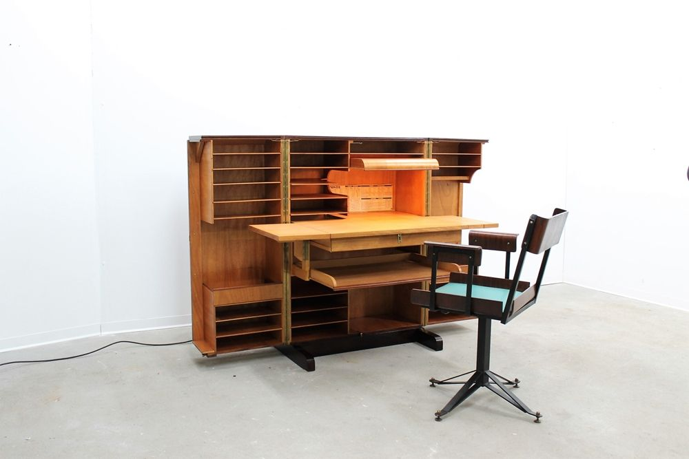 mid-century compact post office desk & swivel chair for sale at pamono