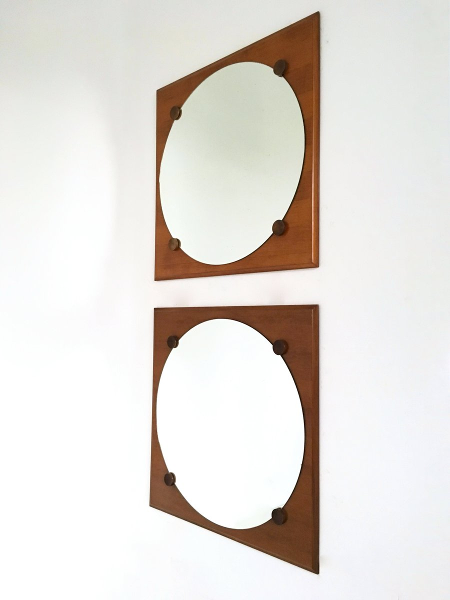 Large walnut wall mirrors 1970s set of 2 for sale at pamono for Large mirror sets