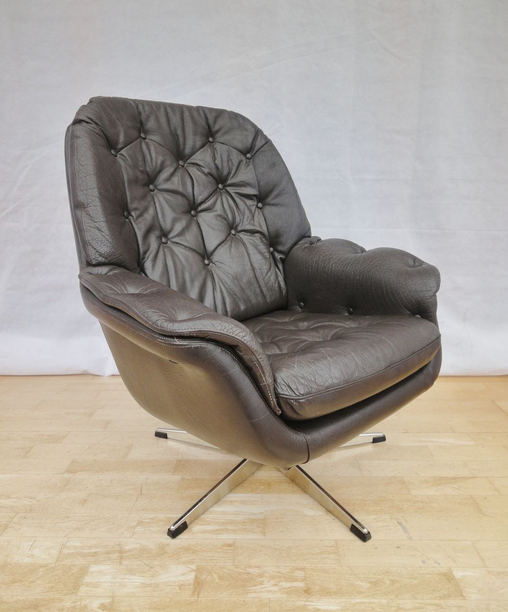 Danish brown leather swivel armchair 1960s for sale at pamono for Swivel club chair leather