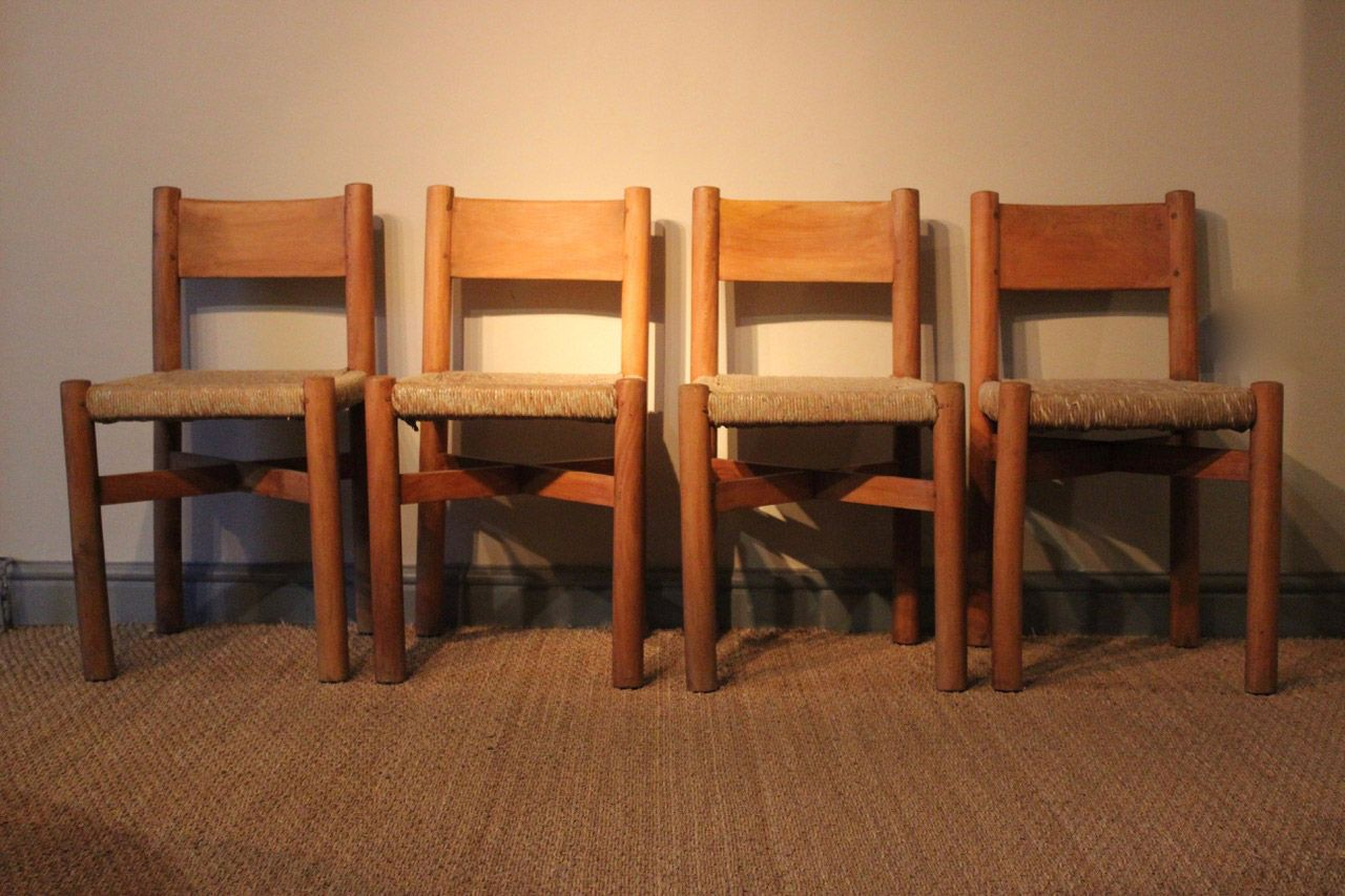 Model Meribel Wood Rattan Chairs By Charlotte Perriand 1950s Set Of 4 For Sale At Pamono