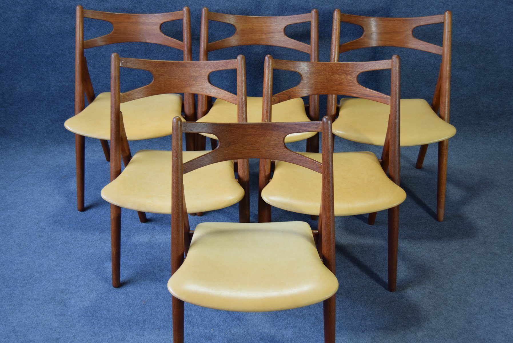 Mid Century Model CH29 Sawback Dining Chairs by Hans Wegner for
