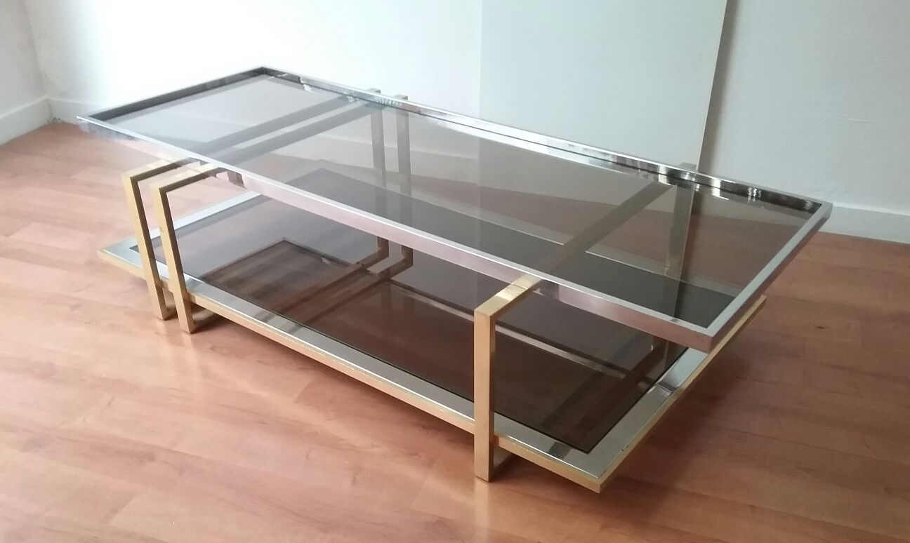Italian Coffee Table Italian Coffee Table With Smoked Glass Top 1970s For Sale At Pamono