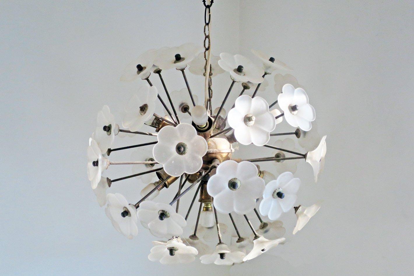 florale vintage h ngelampe aus kupfer glas bei pamono kaufen. Black Bedroom Furniture Sets. Home Design Ideas