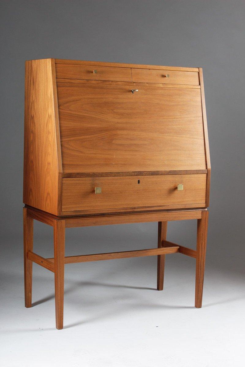 Mid-Century Scandinavian Teak & Brass Bar Cabinet for sale at Pamono