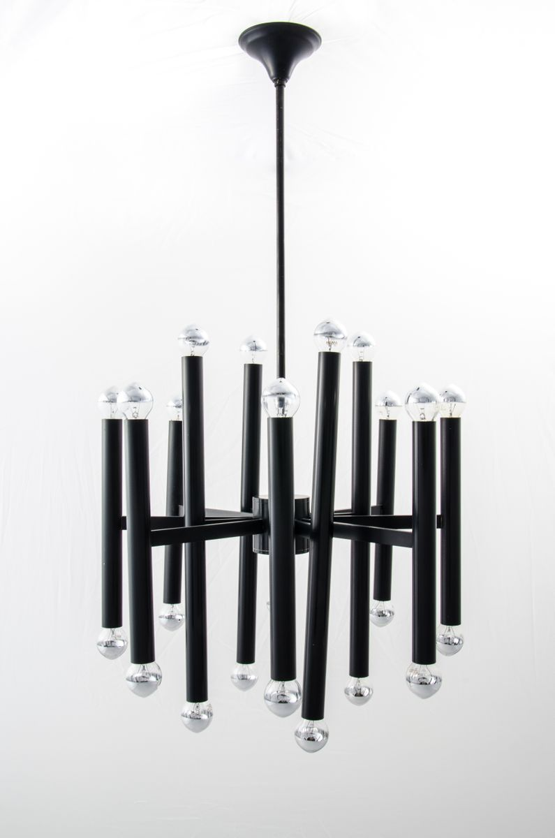 lustre noir en m tal pour gaetano sciolari pour sa. Black Bedroom Furniture Sets. Home Design Ideas