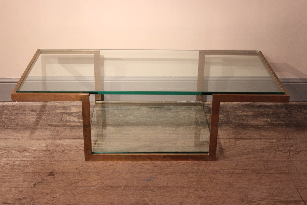 Italian Coffee Table Vintage Italian Brass Glass Coffee Table 1960s For Sale At Pamono