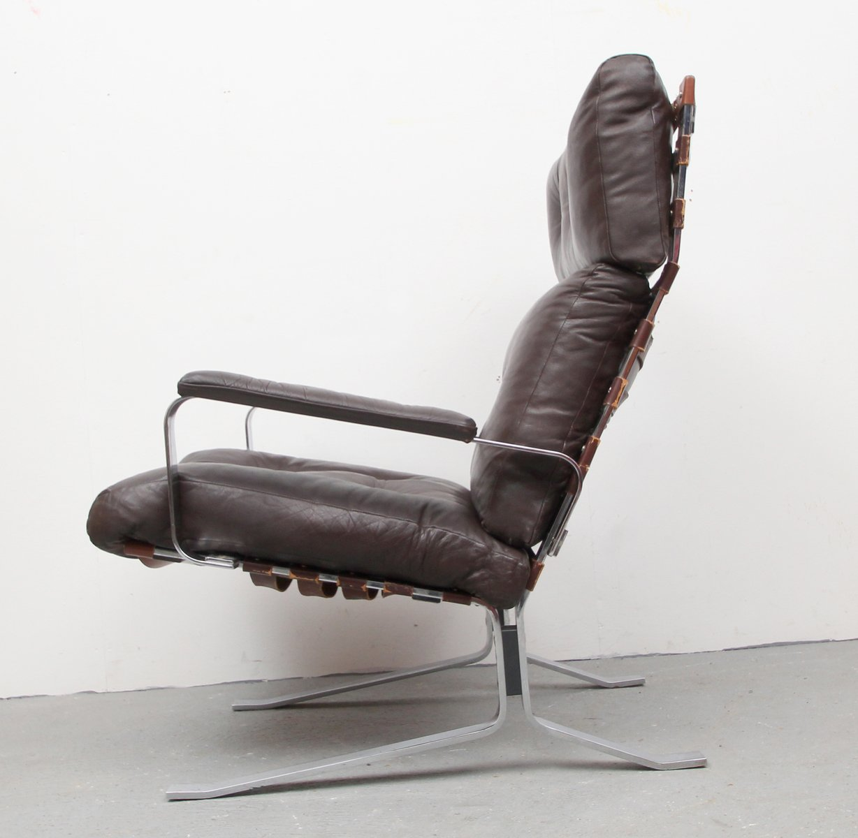 Flat Steel and Leather Lounge Chair 1970s for sale at Pamono
