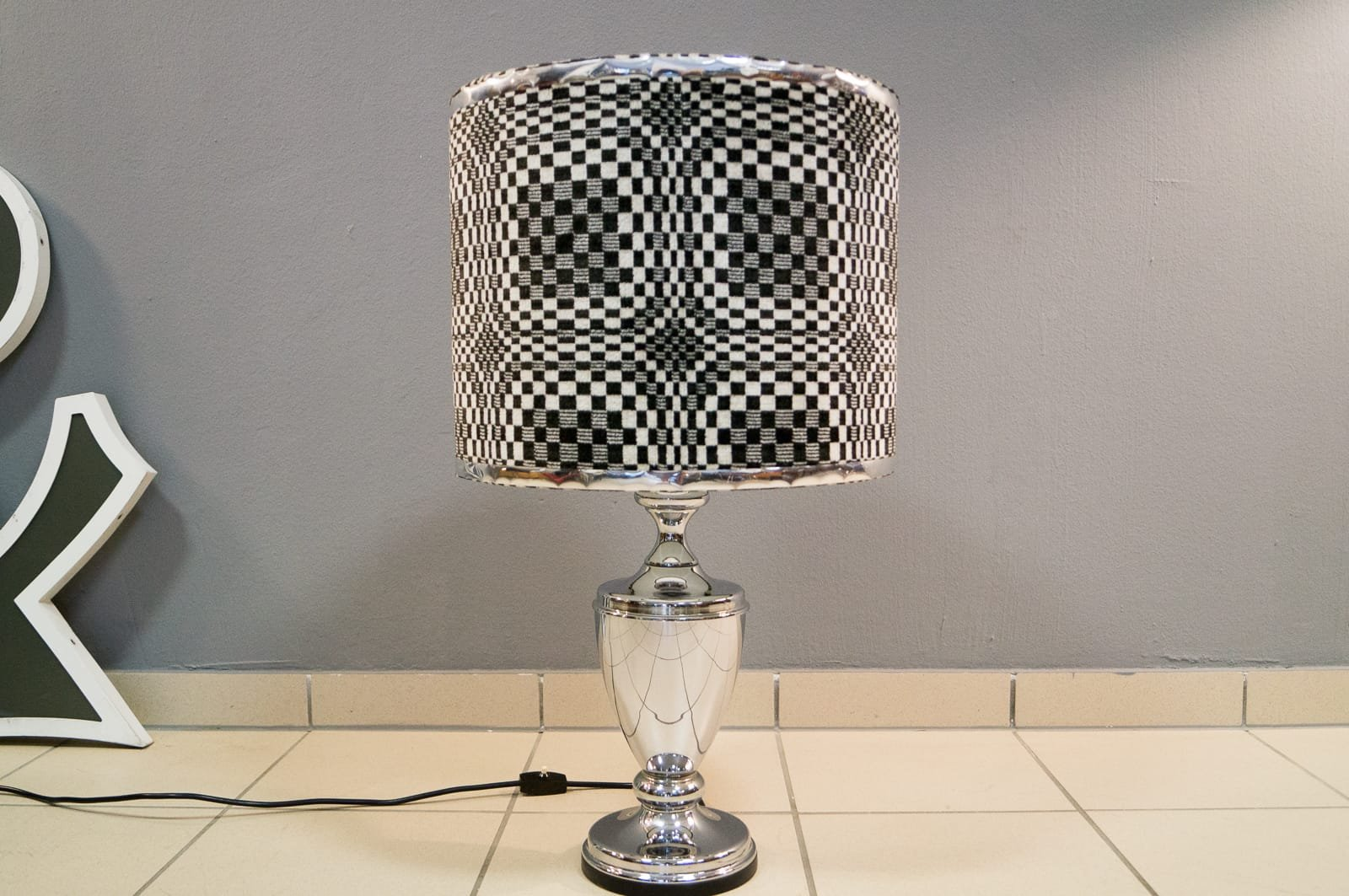 Geometric op art chrome table lamp 1970s for sale at pamono previous geotapseo Gallery