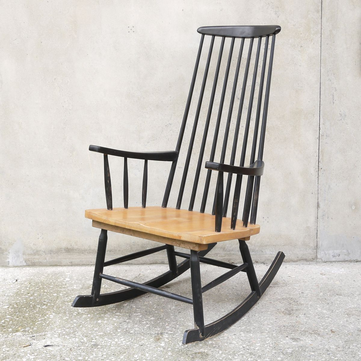 black rocking chair 1960s for sale at pamono. Black Bedroom Furniture Sets. Home Design Ideas