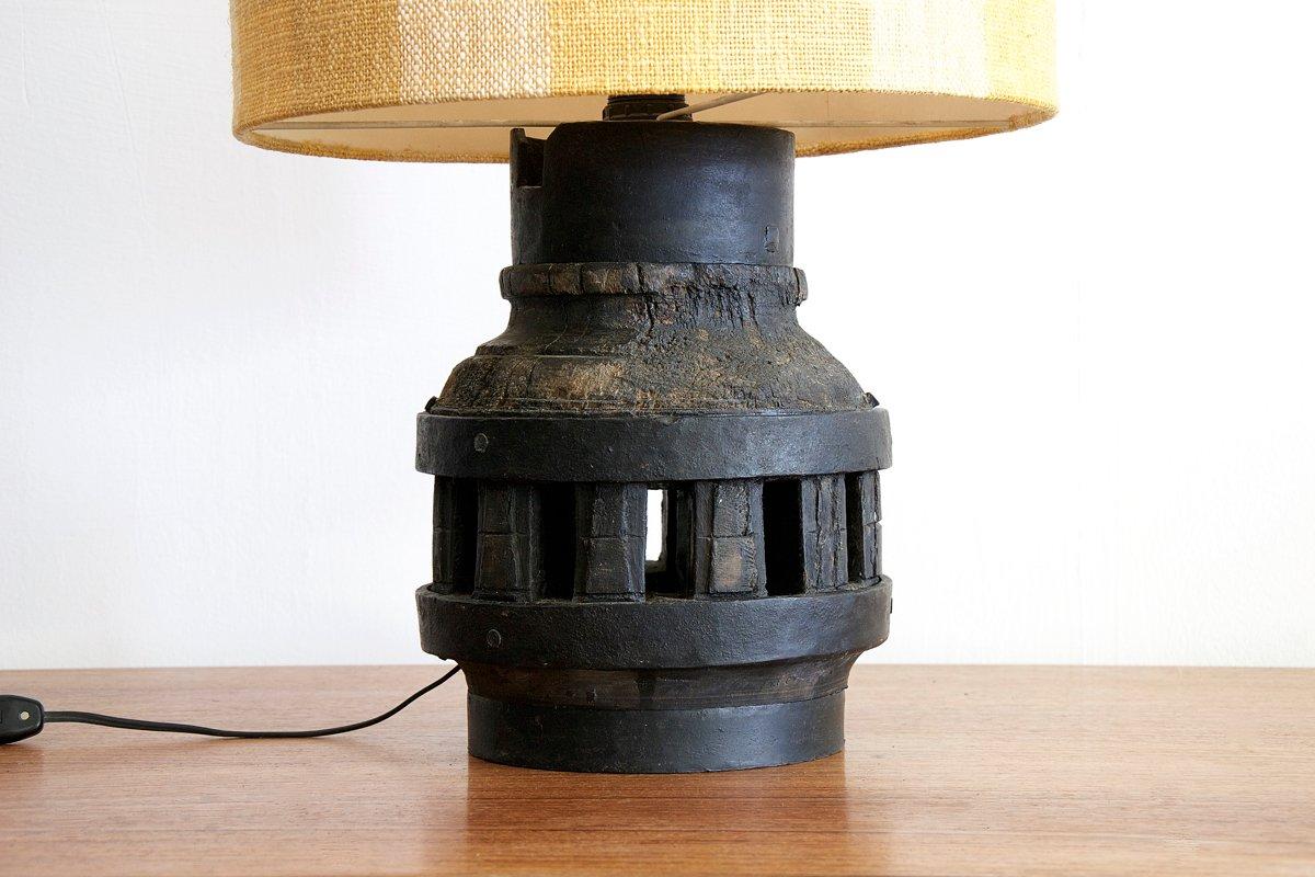 italienische vintage tischlampe aus holz eisen bei. Black Bedroom Furniture Sets. Home Design Ideas